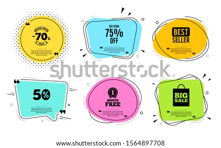 Get Extra 75% off Sale. Best seller, quote text. Discount offer price sign. Special offer symbol. Save 75 percentages. Quotation bubble. Banner badge, texting quote boxes. Extra discount text. Vector #1564897708