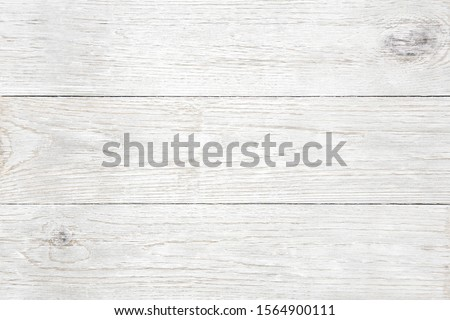 Close up plank, wood, wall, table, floor, background with slightly weathered white painted texture.  #1564900111