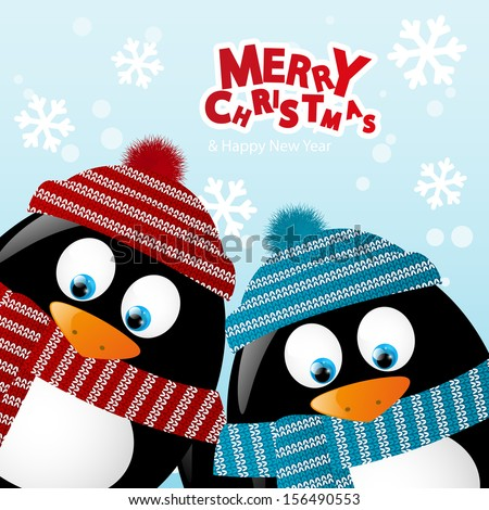 Christmas card with two penguins