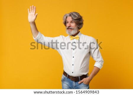 Elderly gray-haired mustache bearded man in white shirt, bow tie posing isolated on yellow background. People lifestyle concept. Mock up copy space. Waving and greeting with hand as notices someone #1564909843