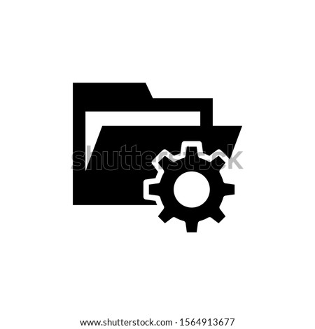 folder with cogwheel icon in black flat design on white background, Project Management icon, data management, folder, project goals, task management icon with settings sign, Project Management icon Royalty-Free Stock Photo #1564913677