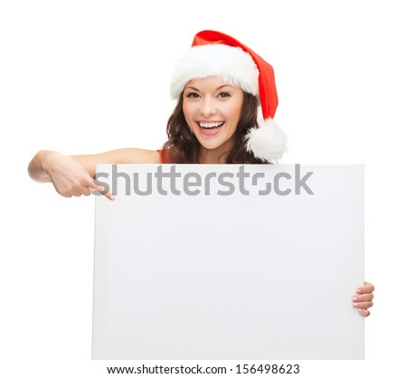christmas, x-mas, people, advertisement, sale concept - happy woman in santa helper hat with blank white board #156498623