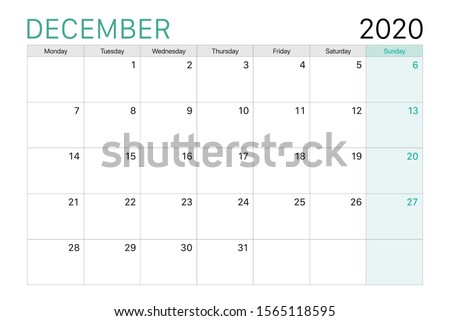 2020 December illustration vector desk calendar weeks start on Monday green and white theme Royalty-Free Stock Photo #1565118595