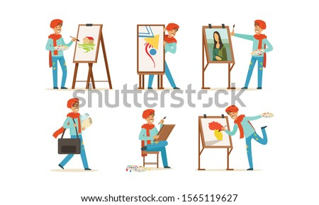 Artist Character Painting on Canvas Vector Set #1565119627