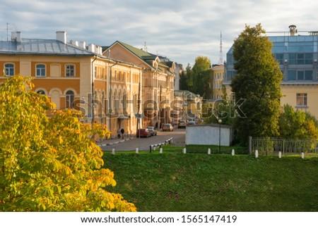 NIZHNY NOVGOROD, RUSSIA - SEPTEMBER 28, 2019: View of Pozharsky  street on residential and trading houses #1565147419