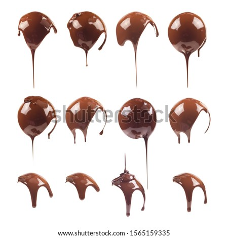 Liquid chocolate on the shape of a ball. Sweet dark ñhocolate drips. Melted chocolate coating. Ganache, icing, frosting, sauce. Chocolate set isolated on a white background. #1565159335