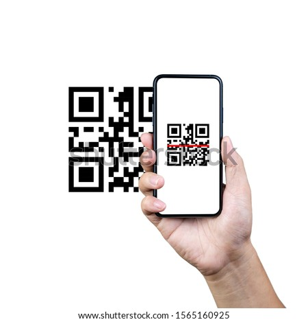 Scanning QR code with mobile smart phone. Isolated on white background. Qr code payment, E wallet , cashless technology concept. #1565160925