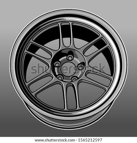 car wheel illustration, good for t shirt, poster, sticker, company logo, etc. #1565212597