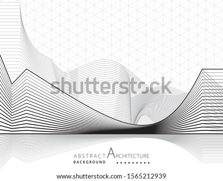 3D illustration architecture building construction perspective design abstract background. Royalty-Free Stock Photo #1565212939