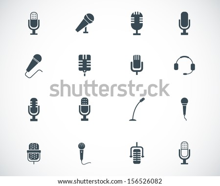 Vector black  microphone  icons set