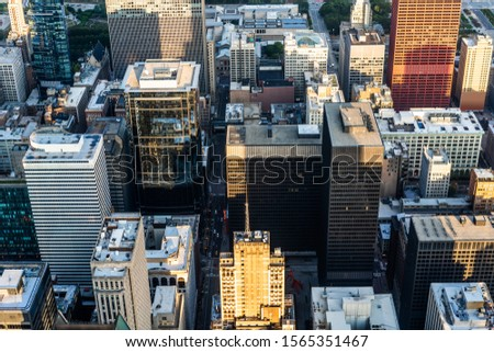 Business concept for real estate and corporate construction - panoramic urban city skyline aerial view under blue sky in Chicago, America