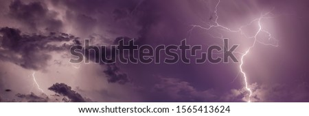 Thunderstorm with lightning bolts, banner.