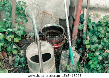 Dirty garden tools. Vintage watering can, spade and rake in the garden #1565418025