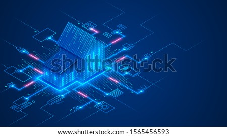 Smart home technology conceptual banner. Building consists digits and connected with icons of domestic smart devices. illustration concept of System intelligent control house on blue background. IOT. Royalty-Free Stock Photo #1565456593