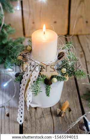 Beautiful rustic Christmas decorations with candle, decorations, #1565594011