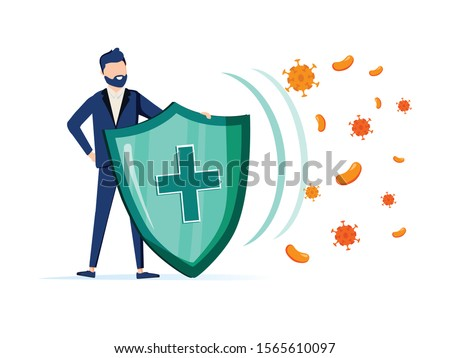 Immune system vector icon logo. Health bacteria virus protection. Medical prevention human germ. Healthy man reflect bacteria attack with shield. Boost Immunity with medicine concept illustration #1565610097