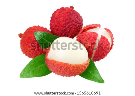 Fresh lychee with leaves isolated on white background #1565610691