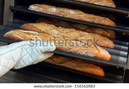 Baker taking a loaf of freshly baked bread from the oven in a modern bakery #156562883