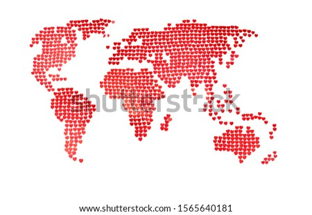 Sketchy world map of red confetti in the shape of hearts. The concept of global holidays, valentines day, weddings, parties. White background, minimalism. An approximate scheme.  #1565640181