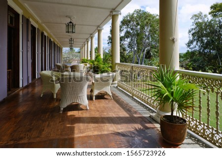 Mapou, Mauritius - September 12 2019 - View of the veranda of Château de Labourdonnais #1565723926