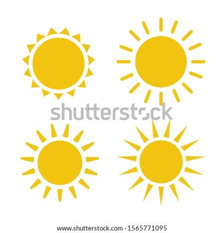 Sun icon illustration. Sunshine isolated set. Sun logo