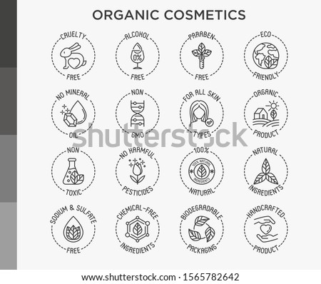 Organic cosmetics set of thin line icons for product packaging. Cruelty free, 0% alcohol, natural ingredients, paraben free, eco friendly, no mineral oil, non GMO. Modern vector illustration. Royalty-Free Stock Photo #1565782642