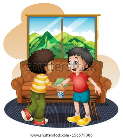 Illustration of the two boys shaking hands near the sofa on a white bakground