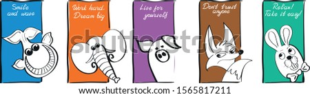 Cheerful funny colored template with the inscription. Whale, elephant, pig, fox, hare, rabbit. Positive motivating lettering. For greeting card, cover, invitation, poster, banner, flyer, web design #1565817211