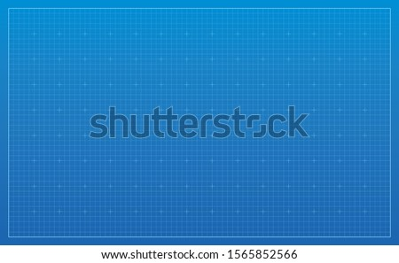 Blueprint background. Blue lined architecture backdrop. Technical industrial concept illustration. Wide wallpaper, pattern digital paper. Empty grid with editable outline strokes. Blank template. #1565852566