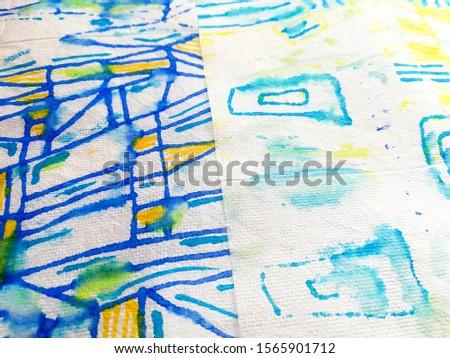Print Geometric. Multicolor Modern Pattern Triangle. White Geometric Shirt. White Background. Blue Rhombus Texture. Multicolor Origami. #1565901712