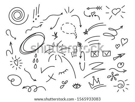 Hand drawn set elements, black on white background. Arrow, heart, love, star, leaf, sun, light, flower, crown, king, queen,Swishes, swoops, emphasis ,swirl, heart, for concept design. #1565933083