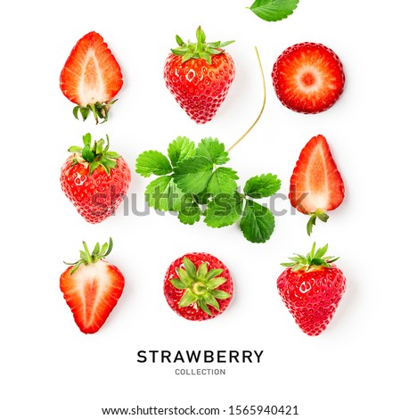 Fresh red strawberry fruit and leaf collection as creative layout isolated on white background. Healthy eating food concept. Spring fruits and berries arrangement. Top view, flat lay, design element