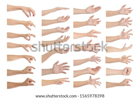 Set of male hand gestures isolated on a white background. #1565978398