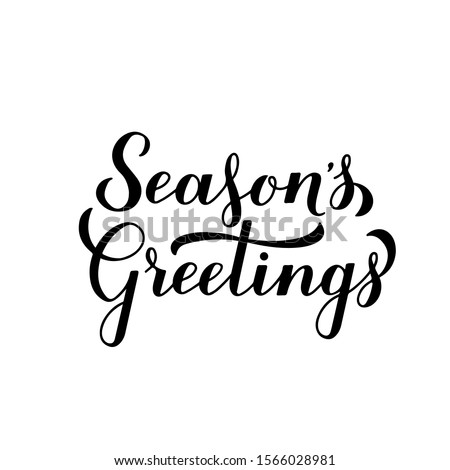 Season's Greetings calligraphy hand lettering isolated on white. Merry Christmas and Happy New Year typography poster. Easy to edit vector template for greeting card, banner, flyer, sticker, etc. Royalty-Free Stock Photo #1566028981
