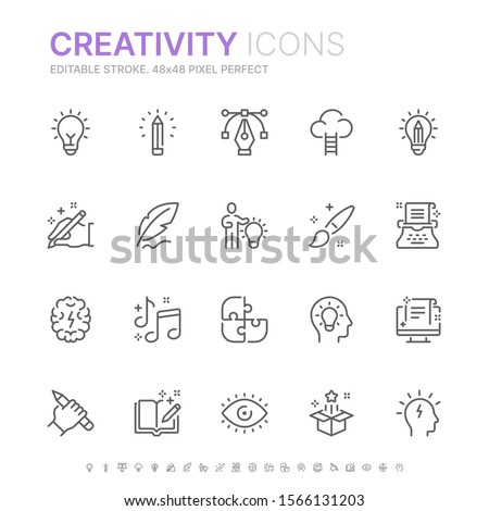Collection of creativity related line icons. 48x48 Pixel Perfect. Editable stroke Royalty-Free Stock Photo #1566131203