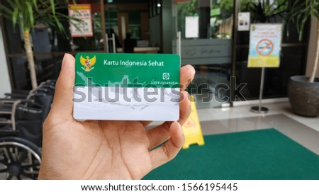 """Yogyakarta, Indonesia - November 21, 2019: Patients indeed  """"Kartu Indonesia Sehat"""" (Health insurance from the government of Indonesia) under the auspices of BPJS #1566195445"""