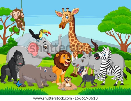 Cartoon wild animals in the jungle Royalty-Free Stock Photo #1566198613