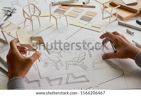 Designer sketching drawing design development product plan draft chair armchair Wingback Interior furniture prototype manufacturing production. designer studio concept .                            #1566206467