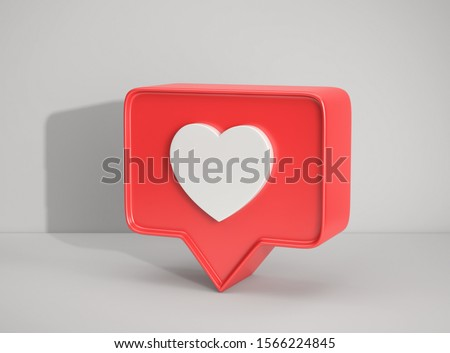 Social media notification icon, Like symbol on gray background. 3D rendering