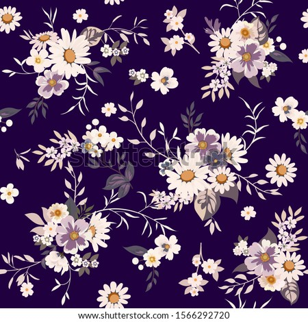 Floral fashion print design with daisies for spring, summer woman dress #1566292720