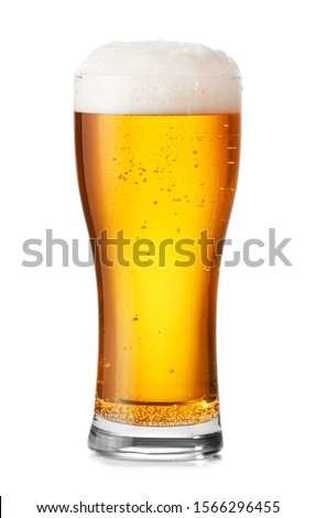 Glass of fresh beer on white background #1566296455