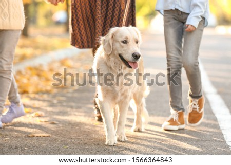 Happy family with dog walking in autumn park #1566364843