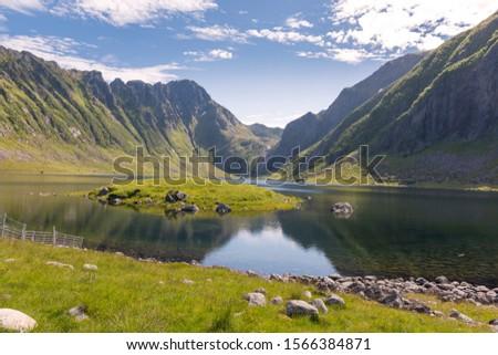 landscape in protected park area Borga Eggum in Eggum in Lofoten in Norway #1566384871