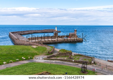 The West Pier and the West Pier Lighthouse in Whitehaven, Cumbria, England, UK #1566428974