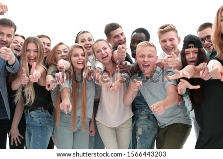 group of young like-minded people pointing at you #1566443203