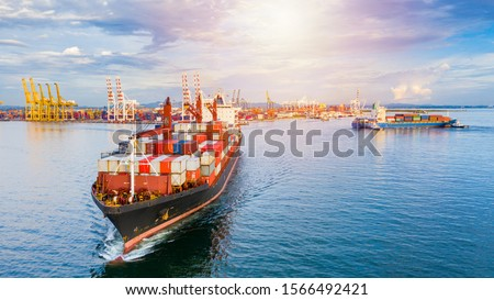 Container ship carrying container for business freight shipping import and export, Aerial view container ship arriving in commercial port. #1566492421