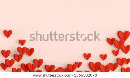 Red hearts background, paper cut romantic concept, top view. Beautiful cute hearts on pastel pink table flat lay composition. Valentines Day greeting card concept. Mothers Day anniversary design. #1566502078