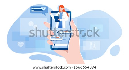 smartphone screen with female therapist on chat in messenger and an online consultation. Vector flat illustration. Ask doctor. Online medical advise or consultation service, tele medicine, cardiology #1566654394