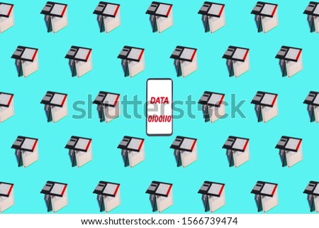 A smartphone with white screen and message, in the center of a wallpaper design with old floppy disks tile. Innovation concept. Retro technology #1566739474