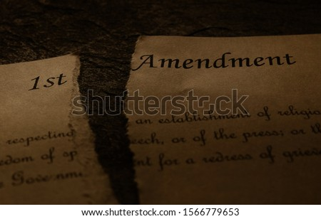 First Amendment text of the US Constitution ripped in half -- Freedom of Speech , Religion or Press  unconstitutional concept                                #1566779653